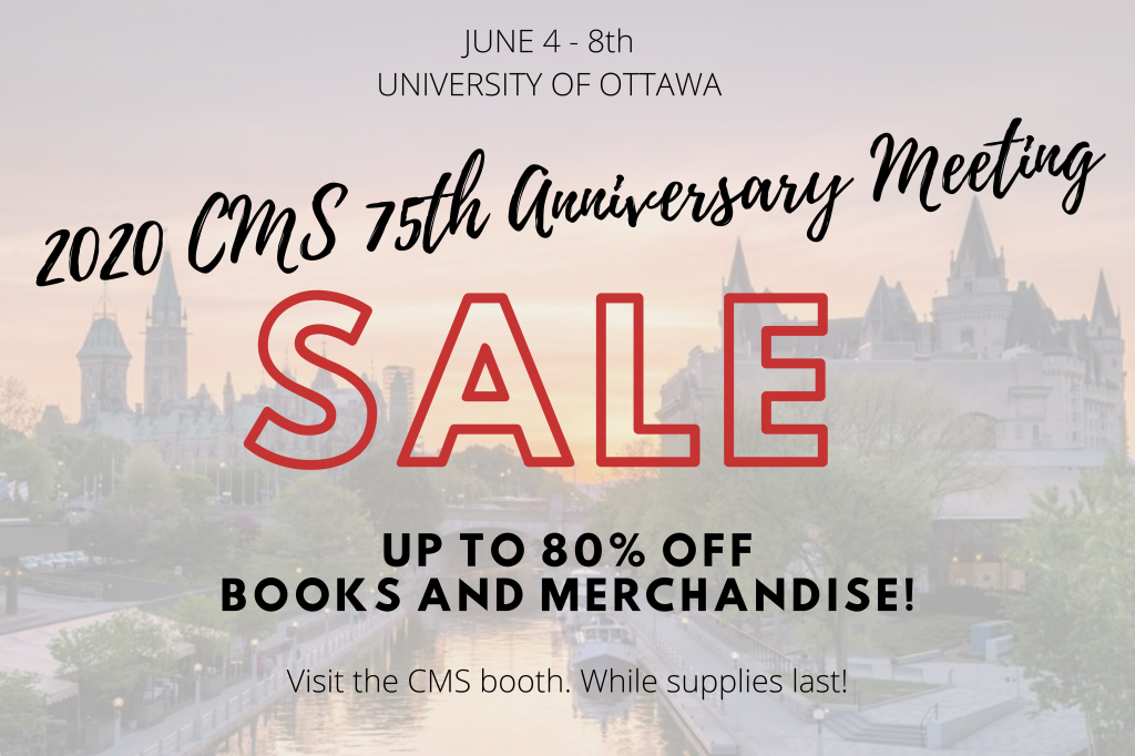 Sale Ad for Books and Merchandise at the 2020 CMS Summer Meeting